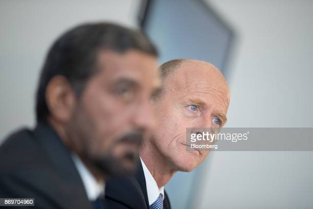 Tom Enders chief executive officer of Airbus SE right looks on during a news conference with Sheikh Ahmed bin Saeed Al Maktoum chief executive...