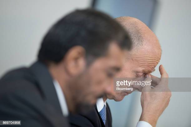 Tom Enders chief executive officer of Airbus SE right pauses during a news conference with Sheikh Ahmed bin Saeed Al Maktoum chief executive officer...