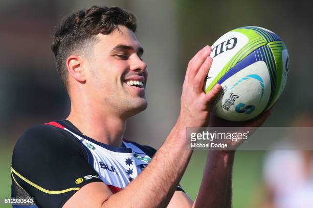Tom English catches the ball during a Melbourne Rebels Super Rugby training session at Gosch's Paddock on July 12 2017 in Melbourne Australia