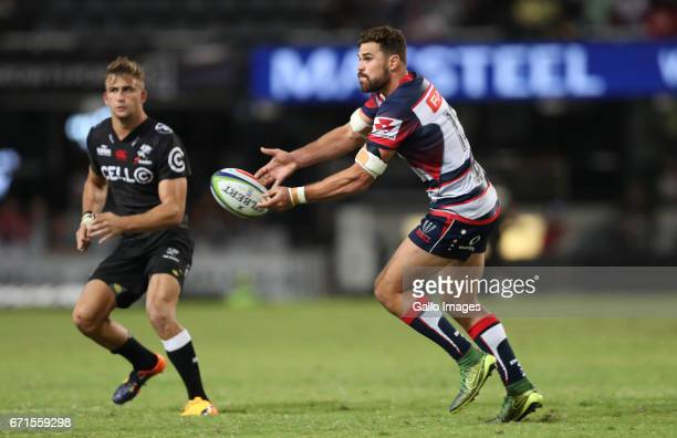 Tom English of the Melbourne Rebels during the Super Rugby match between Cell C Sharks and Rebels at Growthpoint Kings Park on April 22 2017 in...