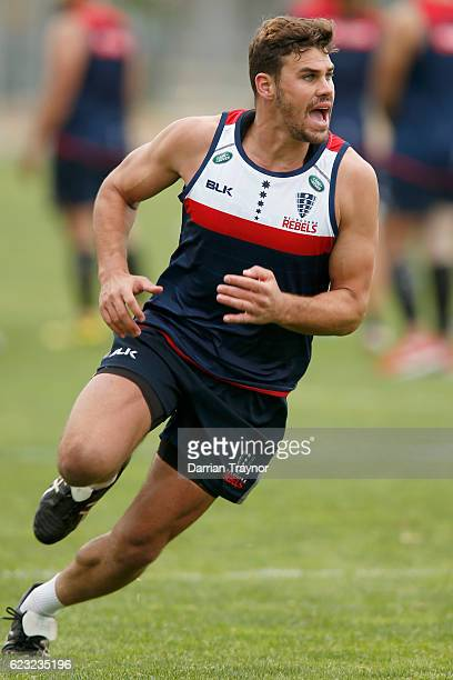 Tom English of the Rebels calls for the ball during a Melbourne Rebels Super Rugby training session on November 15 2016 in Melbourne Australia