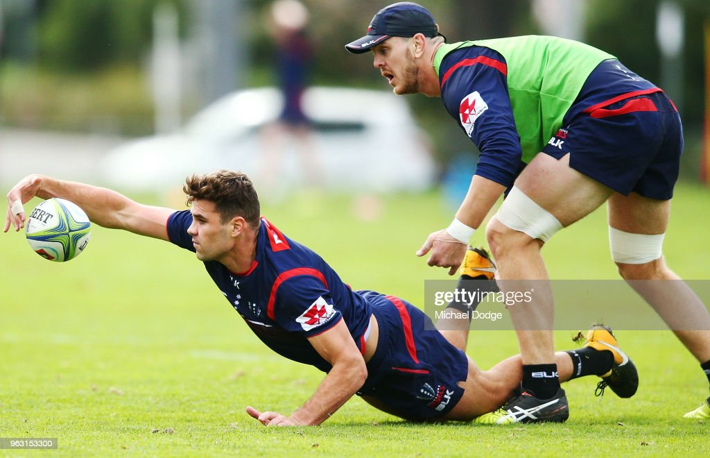 Tom English of the Rebels dives for the ball during a Melbourne Rebels Super Rugby training session at Gosch's Paddock on May 28, 2018 in Melbourne, Australia.