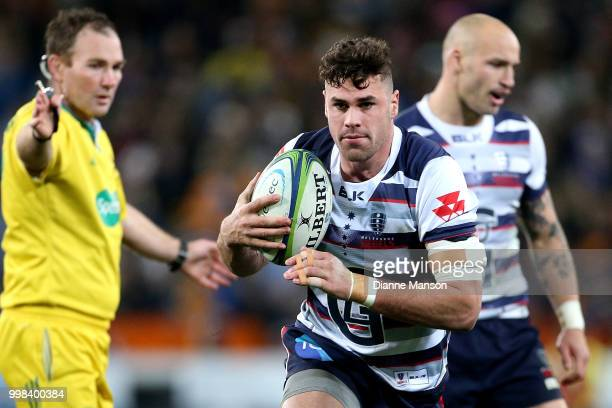 Tom English of the Rebels during the round 19 Super Rugby match between the Highlanders and the Rebels at Forsyth Barr Stadium on July 14 2018 in...