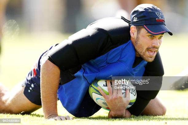 Tom English of the Rebels in action during a Melbourne Rebels Super Rugby training session at Goschs Paddock on April 6 2018 in Melbourne Australia