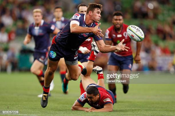 Tom English of the Rebels passes the ball during the round two Super Rugby match between the Melbourne Rebels and the Queensland Reds at AAMI Park on...
