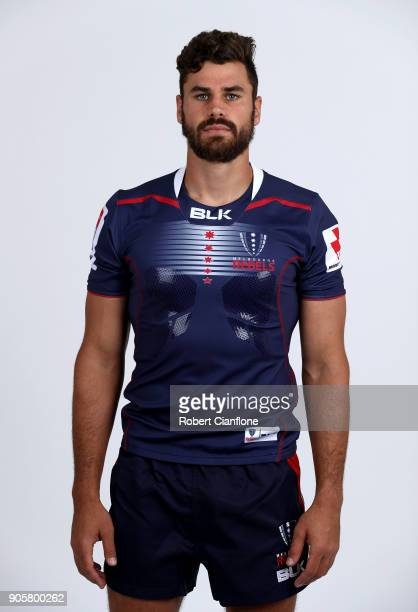 Tom English of the Rebels poses during the Melbourne Rebels Super Rugby headshots session at AAMI Park on January 17 2018 in Melbourne Australia