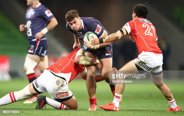 Tom English of the Rebels runs with the ball during the round 15 Super Rugby match between the Rebels and the Sunwolves at AAMI Park on May 25 2018...