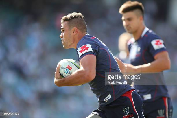 Tom English of the Rebels scores a try during the round five Super Rugby match between the Waratahs and the Rebels at Allianz Stadium on March 18...