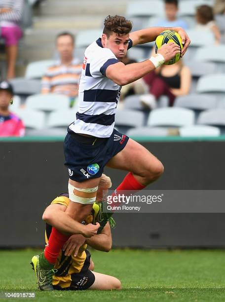 Tom English of the Rising is tackled during the round six NRC match between Melbourne Rising and Western Force at GMHBA Stadium on October 7 2018 in...