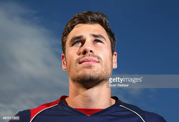 Tom English poses during a Melbourne Rebels Super Rugby training session at Visy Park on May 21 2014 in Melbourne Australia