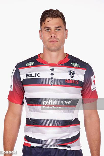 Tom English poses for a photo during the 2016 Melbourne Rebels Super Rugby headshots session on January 27 2016 in Melbourne Australia