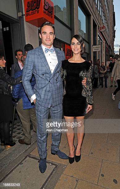Tom Evans and Jessica Lowndes sighting arriving at Cineworld Haymarket for screening of The Great Gatsby on May 15 2013 in London England