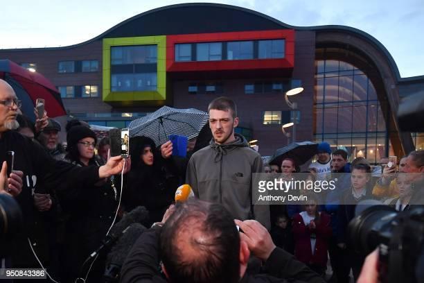 Tom Evans, father of Alfie Evans, speaks to media outside at Alder Hey Children's Hospital on April 24, 2018 in Liverpool, England. Earlier today,...