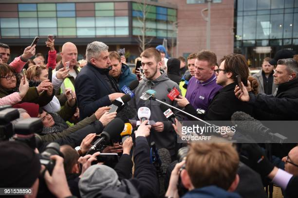 Tom Evans father of British toddler Alfie Evans speaks to members of the media and supporters outside Alder Hey childrens hospital in Liverpool...