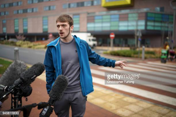 Tom Evans the father of terminally ill 23monthold Alfie Evans speaks to the media outside Alder Hey Hospital where Alfie is being cared for on April...