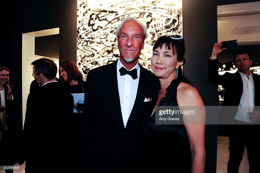 Tom Everhart and Keiko Noah attend the 'Tom Everhart 'Raw' Exhibition of His Schulz-influenced Paintings For The First Time In Black And White At Mouche Gallery on February 27, 2016 in Beverly Hills, California.