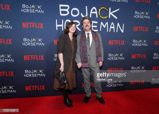 Tom F Tompkins and Janie Haddad Tompkins attend the premiere of Netflix's Bojack Horseman Season 6 at the Egyptian Theatre on January 30 2020 in...