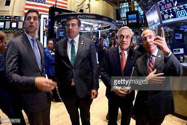 Tom Farley Mikhail Saakashvili Sebastian Pinera and Felipe Calderon attend the Closing Bell at the New York Stock Exchange during the the 2014...