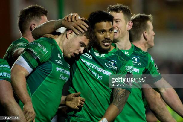 Tom Farrell and Pita Akhi of Connacht celebrate during the Guinness PRO14 rugby match between Connacht Rugby and Ospreys at the Sportsground in...