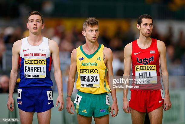 Tom Farrell of Great Britain Brett Robinson of Australia and Ryan Hill of the United States prepare to start in the Men's 3000 metre heats during day...