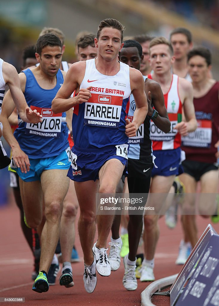 Tom Farrell of Great Britain competes in the men's 5000M final on day two of the British Championships Birmingham at Alexander Stadium on June 25, 2016 in Birmingham, England.