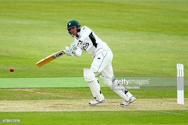 Tom Fell of Worcestershire hits out during Day 2 of the LV County Championship Division One match between Hampshire and Worcestershire at Ageas Bowl...