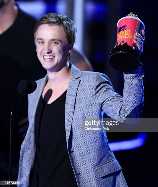 Tom Felton accepts the Best Villain award onstage at the 2010 MTV Movie Awards held at the Gibson Amphitheatre at Universal Studios on June 6 2010 in...