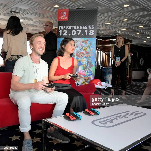 Tom Felton and Mika Watkins put their gaming skills to the test playing Mario Kart 8 Deluxe on Nintendo Switch at the Variety Studio at ComicCon 2018...