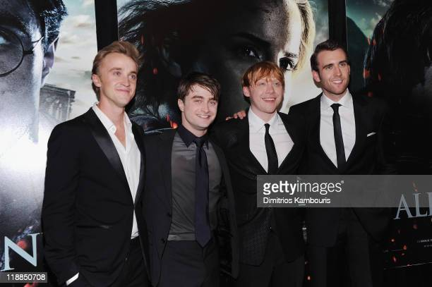 Tom Felton Daniel Radcliffe Rupert Grint and Matthew Lewis attend the premiere of Harry Potter and the Deathly Hallows Part 2 at Avery Fisher Hall...