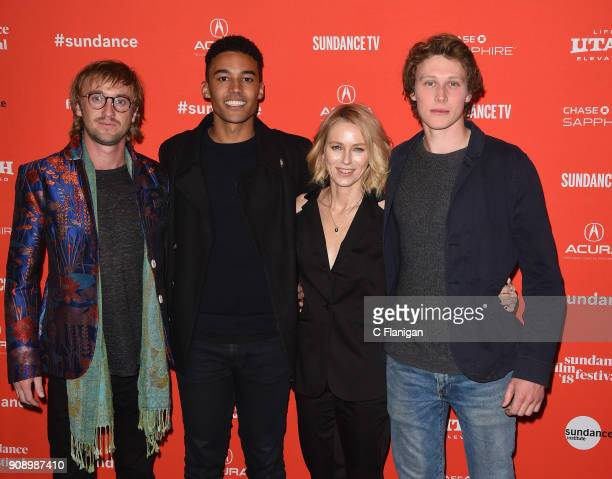 Tom Felton Devon Terrell Naomi Watts and George MacKay attend the 'Ophelia' Premiere during 2018 Sundance Film Festival at Eccles Center Theatre on...