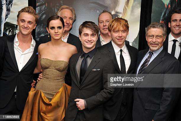 Tom Felton Emma Watson Alan Rickman Daniel Radcliffe David Yates Rupert Grint Barry M Meyer and Matthew Lewis attend the New York premiere of 'Harry...