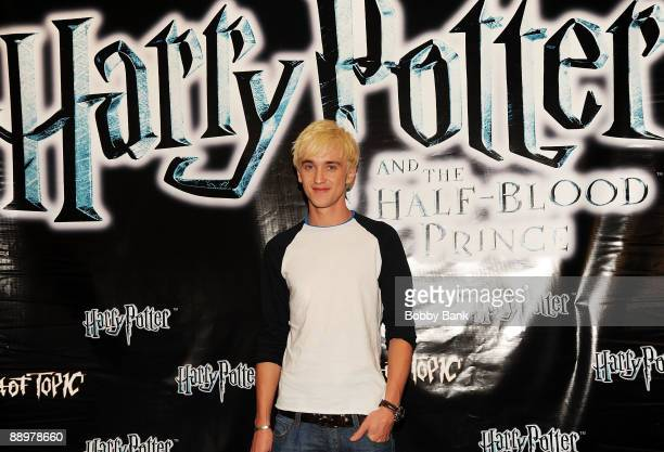 Tom Felton promotes Harry Potter and the HalfBlood Prince at Hot Topic Garden State Plaza on July 10 2009 in Paramus New Jersey