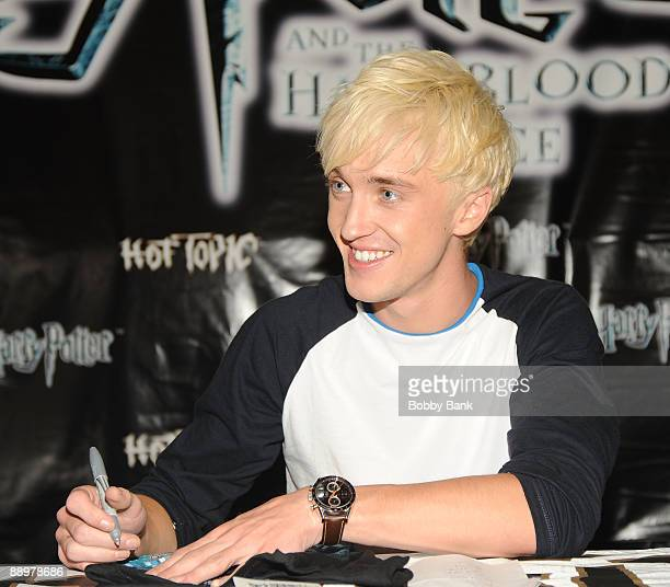 Tom Felton promotes 'Harry Potter and the HalfBlood Prince' at Hot Topic Garden State Plaza on July 10 2009 in Paramus New Jersey