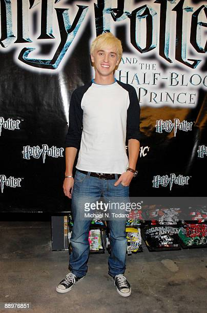 Tom Felton promotes 'Harry Potter The Half Blood Prince' at Hot Topic Garden State Plaza on July 10 2009 in Paramus New Jersey