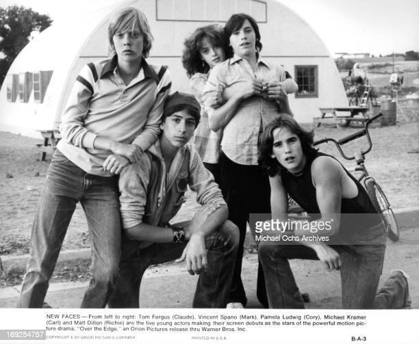 Tom Fergus Vincent Spano Pamela Ludwig Michael Eric Kramer and Matt Dillon in on set of the film 'Over The Edge' 1979