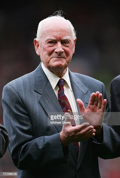Tom Finney applauds prior to the Barclays Premiership match between Manchester United and Liverpool at Old Trafford on October 22, 2006 in...