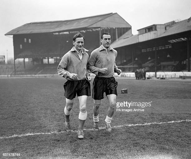 Tom Finney left with Nat Lofthouse at Stamford Bridge during an England training session