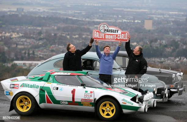 Tom Fitzsimmons with his 1963 Volvo Malcolm Oswald with his Riley and Nico Alonzi with his Lancia Stratos during a photocall to launch the 2014 Monte...