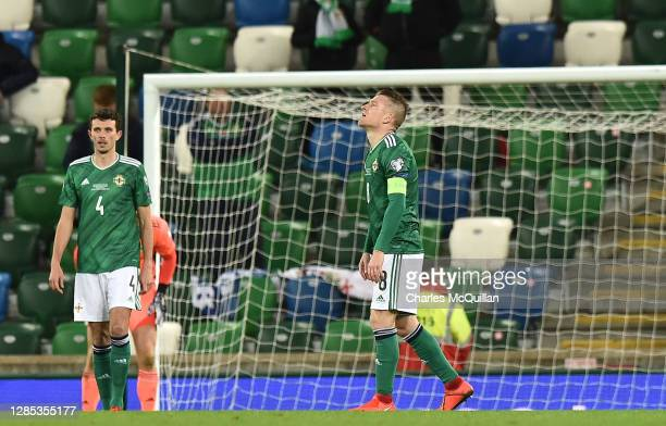 Tom Flanagan of Northern Ireland and Steven Davis of Northern Ireland reacts after Slovaki score their 2nd goal during the UEFA EURO 2020 Play-Off...