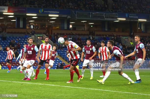 Tom Flanagan of Sunderland AFC scores his teams second goal during the Carabao Cup Second Round match between Burnley FC and Sunderland AFC at Turf...