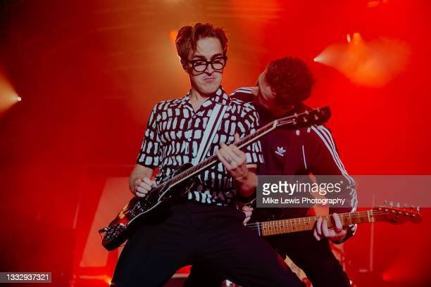 Tom Fletcher and Danny Jones of Mcfly perform on stage at The Bath Festival Finale at Recreation Ground on August 07, 2021 in Bath, England.