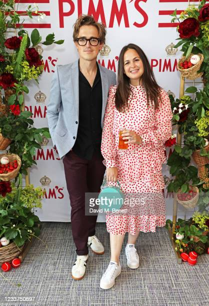Tom Fletcher and Giovanna Fletcher enjoy PIMM'S No 1 hospitality at The Championships, Wimbledon on July 1, 2021 in London, England.