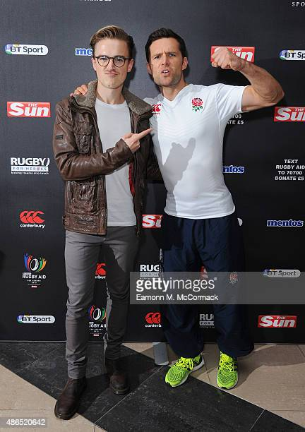 Tom Fletcher and Harry Judd of McFly attend the after party for Rugby Aid 2015 at Twickenham Stadium on September 4 2015 in London England