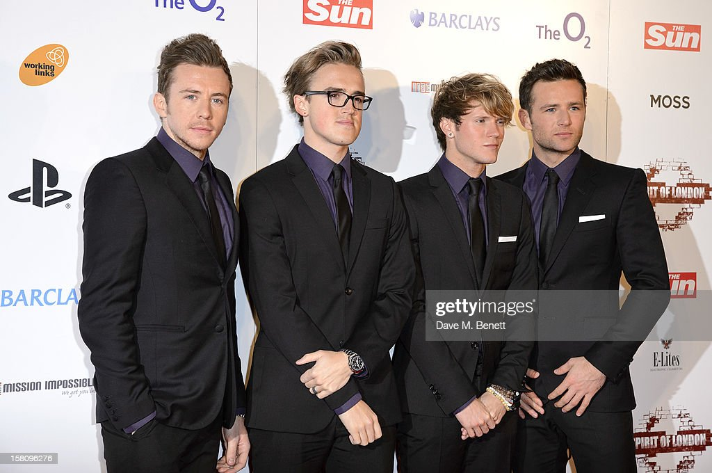 Tom Fletcher, Danny Jones, Dougie Poynter and Harry Judd of McFly attends the Spirit Of London Awards in association with PlayStation at the O2 Arena on December 10, 2012 in London, England.