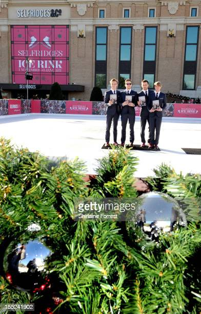 Tom Fletcher Danny Jones Harry Judd and Dougie Poynter of McFly officially open the first ever Selfridges Manchester ice rink before meeting fans and...