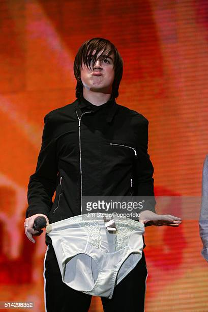 Tom Fletcher of McFly displays a pair of underpants on stage on stage at the T4 Poll Winners' Party 2005 With Smash Hits at Wembley Arena Pavilion on...