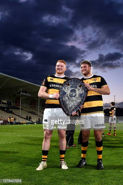 Tom Florence and Bradley Slater of Taranaki pose for a photo with the Ranfurly Shield during the round 2 Mitre 10 Cup match between Canterbury and...