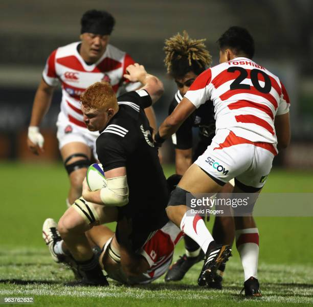 Tom Florence of New Zealand charges upfield during the World Rugby U20 Championship match between New Zealand and Japan at Stade d'Honneur du Parc...