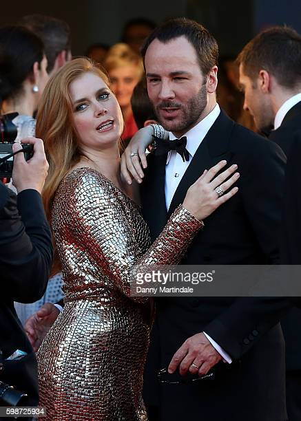 Tom Ford and Amy Adams attend the premiere of 'Nocturnal Animals' during the 73rd Venice Film Festival at Sala Grande on September 2 2016 in Venice...
