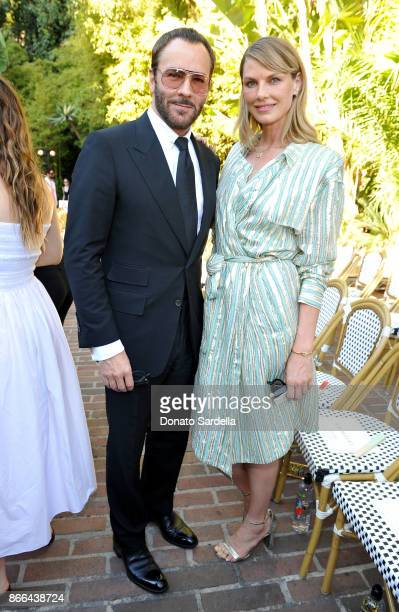 Tom Ford and Angela Lindvall attend CFDA/Vogue Fashion Fund Show and Tea at Chateau Marmont at Chateau Marmont on October 25 2017 in Los Angeles...